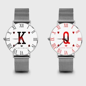 Metal Watch King & Queen of Heart Dame Rouge