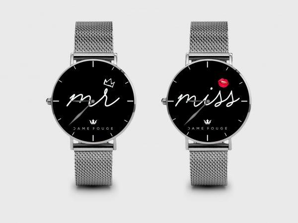 Metal Watch Mr & Miss Dame Rouge