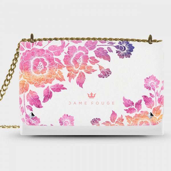Lovely Bag Violet Roses White Dame Rouge