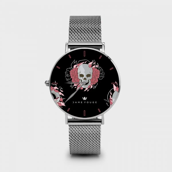 Metal Watch Death Roses Dame Rouge
