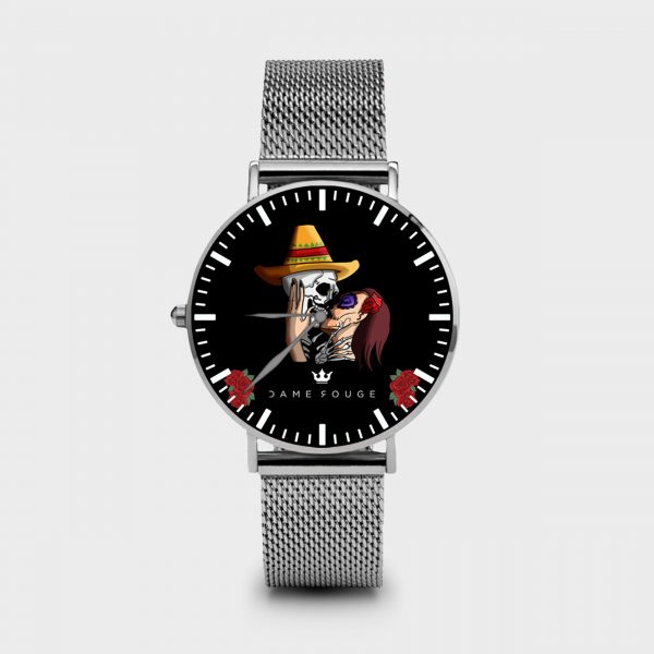 Metal Watch Mexican Skull Dame Rouge