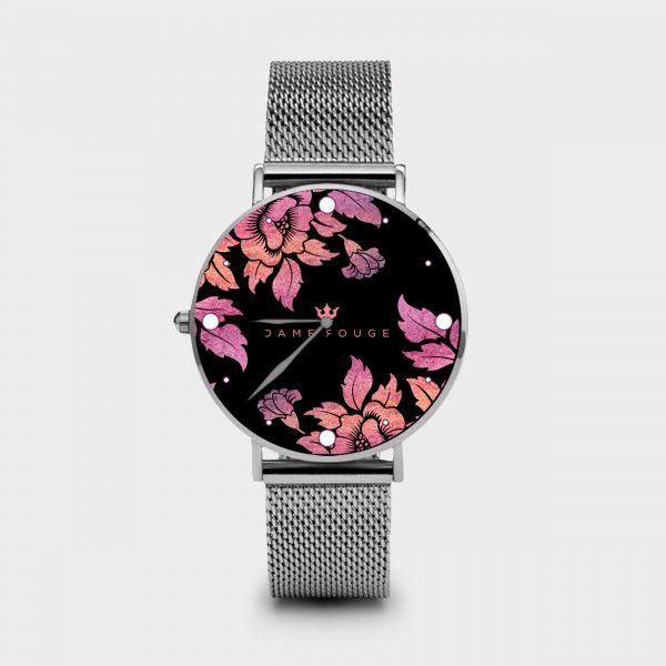 Metal Watch Violet Roses Dame Rouge