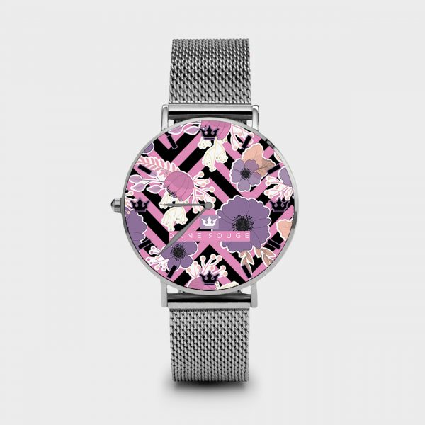 Metal Watch Floral Dame Rouge