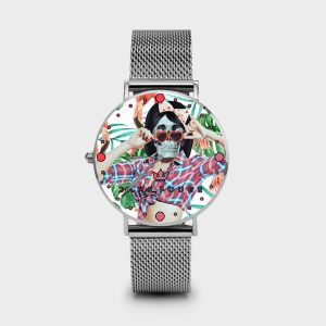 Metal Watch Pin Up Skull Dame Rouge