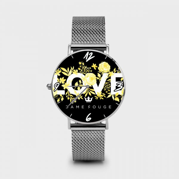 Metal Watch Flower Love Dame Rouge