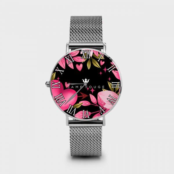 Metal Watch Pink Heart Dame Rouge