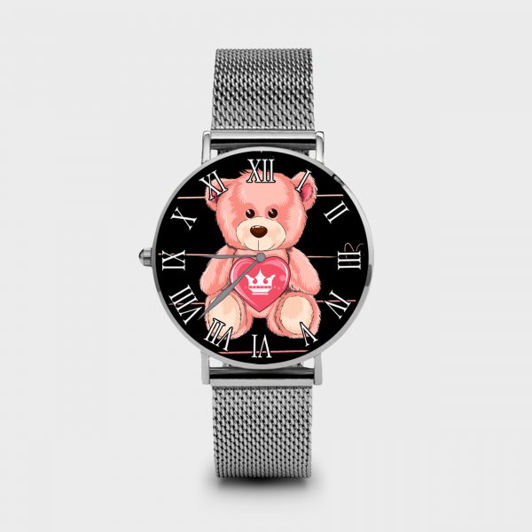 Metal Watch Teddy Bear Dame Rouge