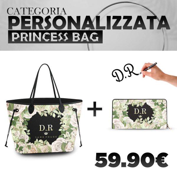 Set Princess Bag + Portafoglio Personalizzato White Rose