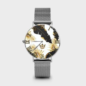 Metal Watch Golden White Dame Rouge