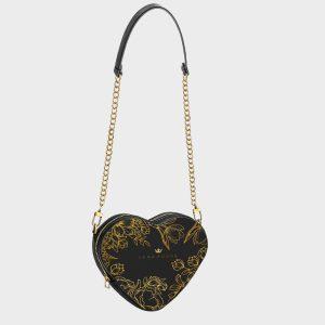 Heart Shape Bag Brilliant Flowers Noir