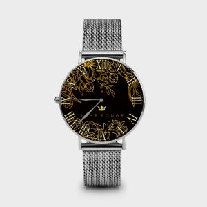 Metal Watch Brilliant Flowers Noir Dame Rouge