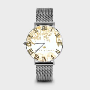 Metal Watch Brilliant Flowers White Dame Rouge