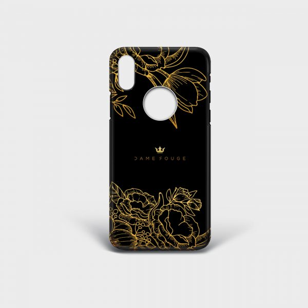 Cover Iphone Brilliant Flowers Noir Dame Rouge
